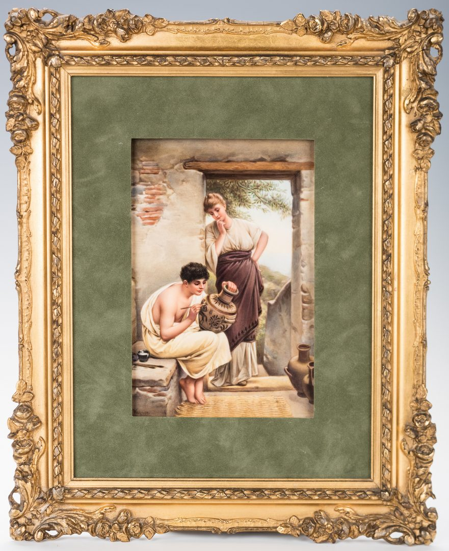 Lot 618: KPM Hand Painted Porcelain Plaque, signed Wagner