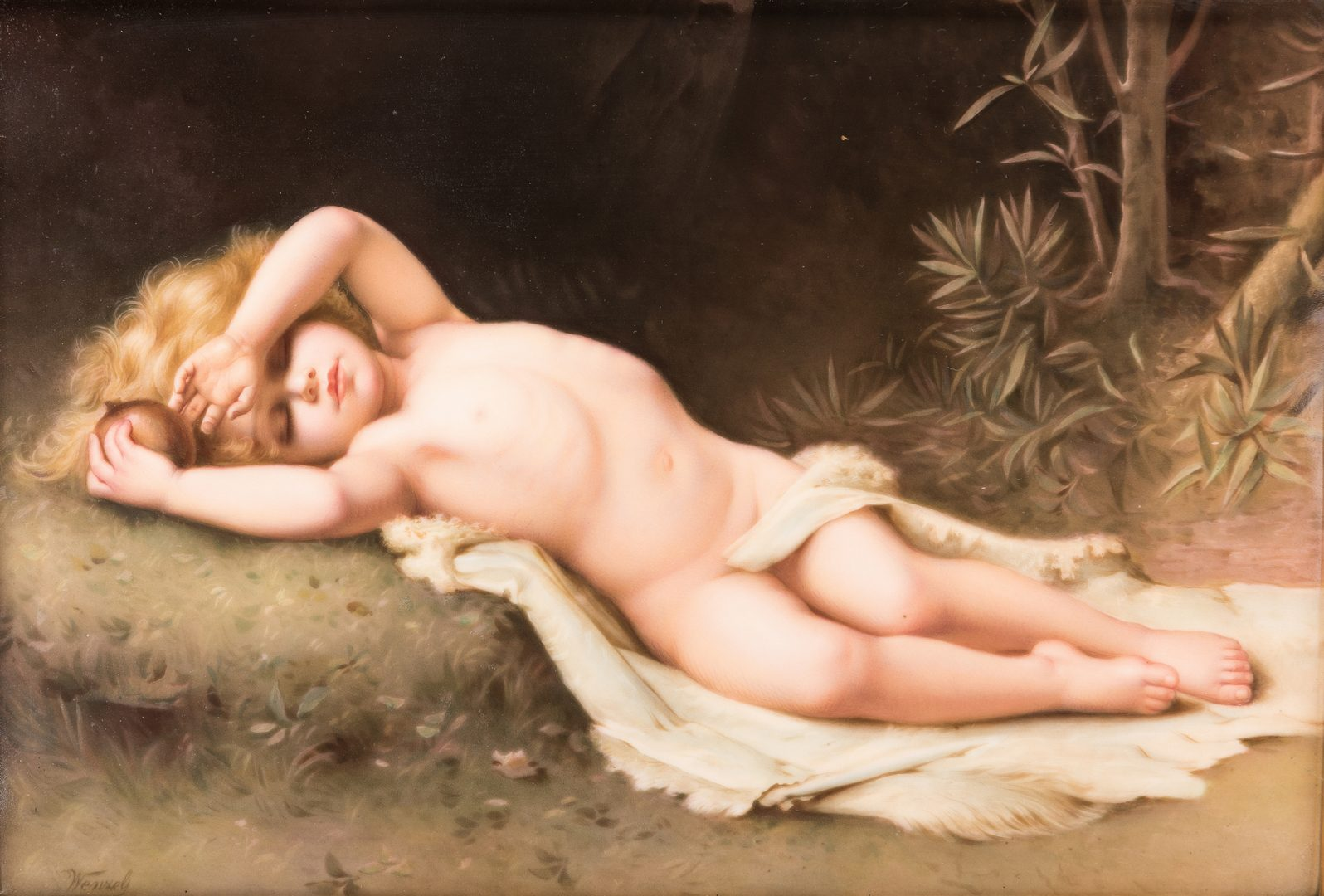 Lot 619: Berlin Style Plaque of Sleeping Cherub
