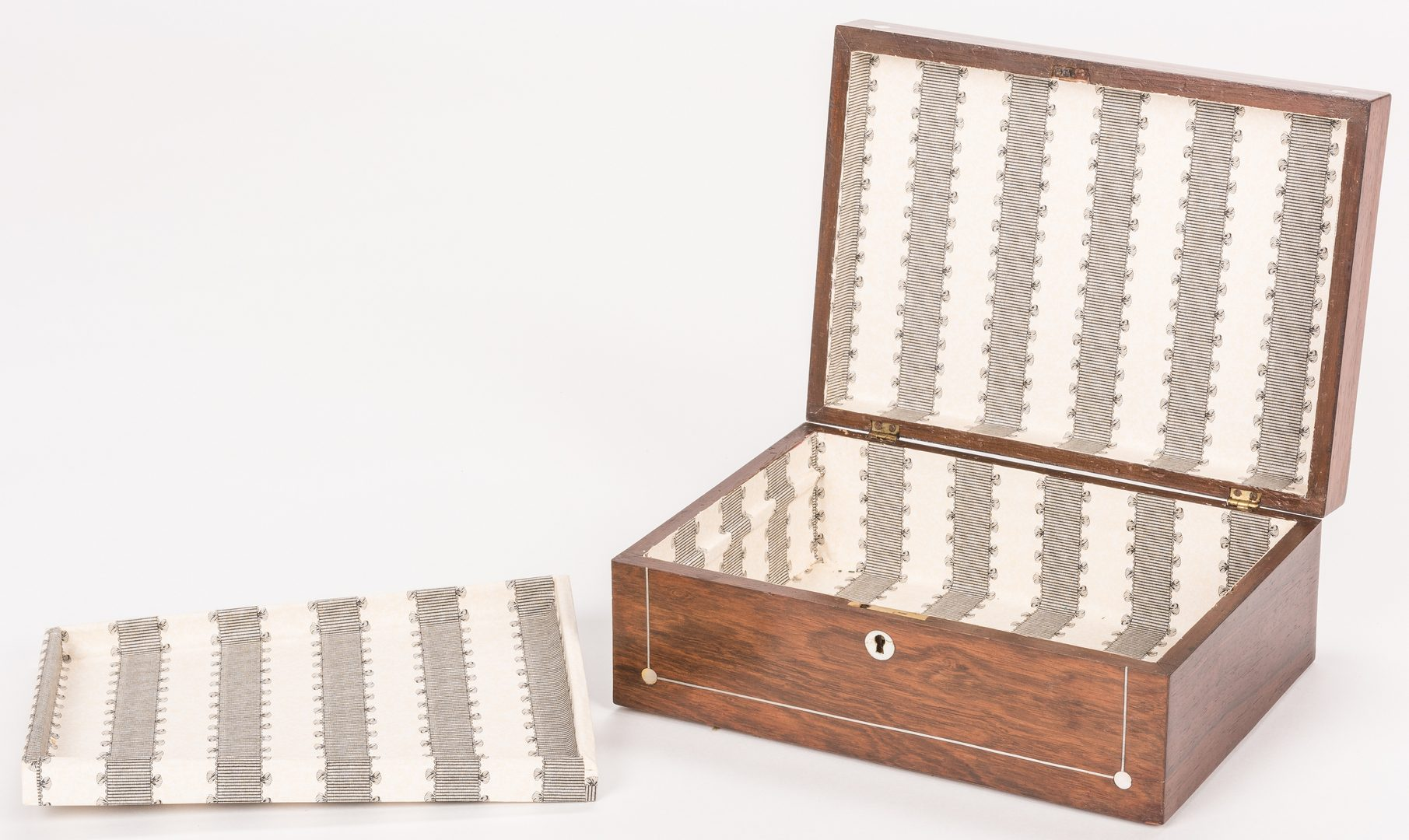 Lot 620: Pr. Italian Marquetry Miniature Chests; Mahogany Document Box