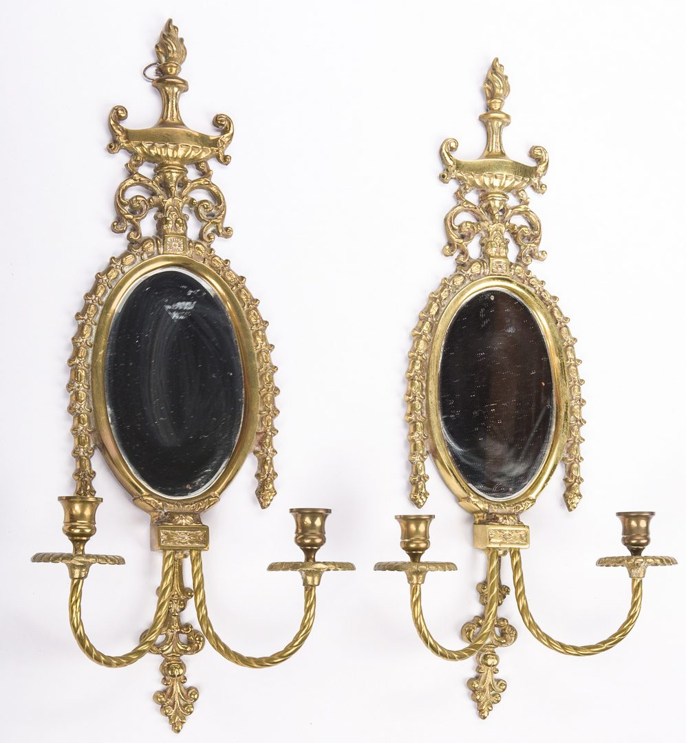 Lot 621: Chippendale Mirror & Pr. Gilt Bronze Mirrored Sconces
