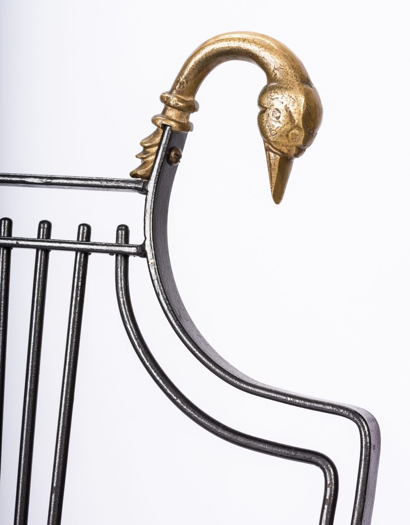 Lot 622: 4 Iron Chairs with Brass Swan Heads