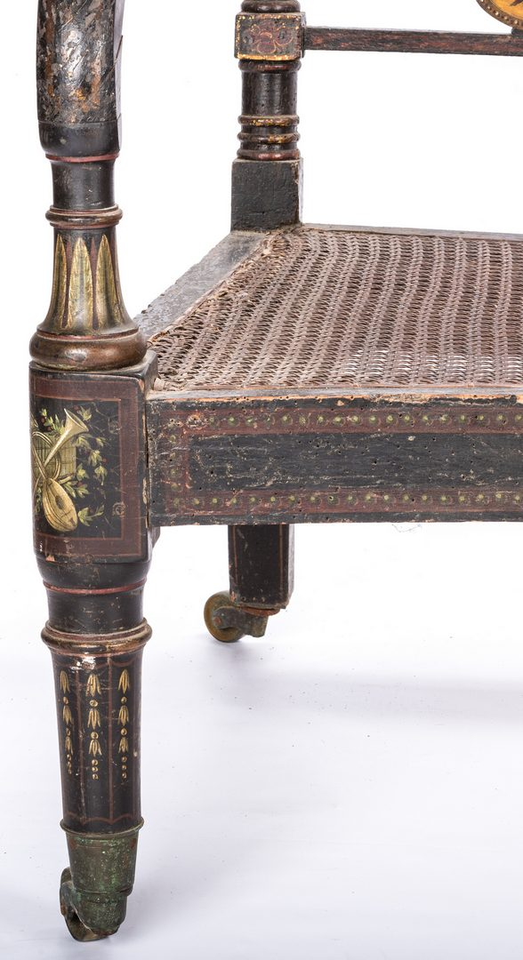 Lot 624: English or American Fancy Painted Settee w/ Cane Seat