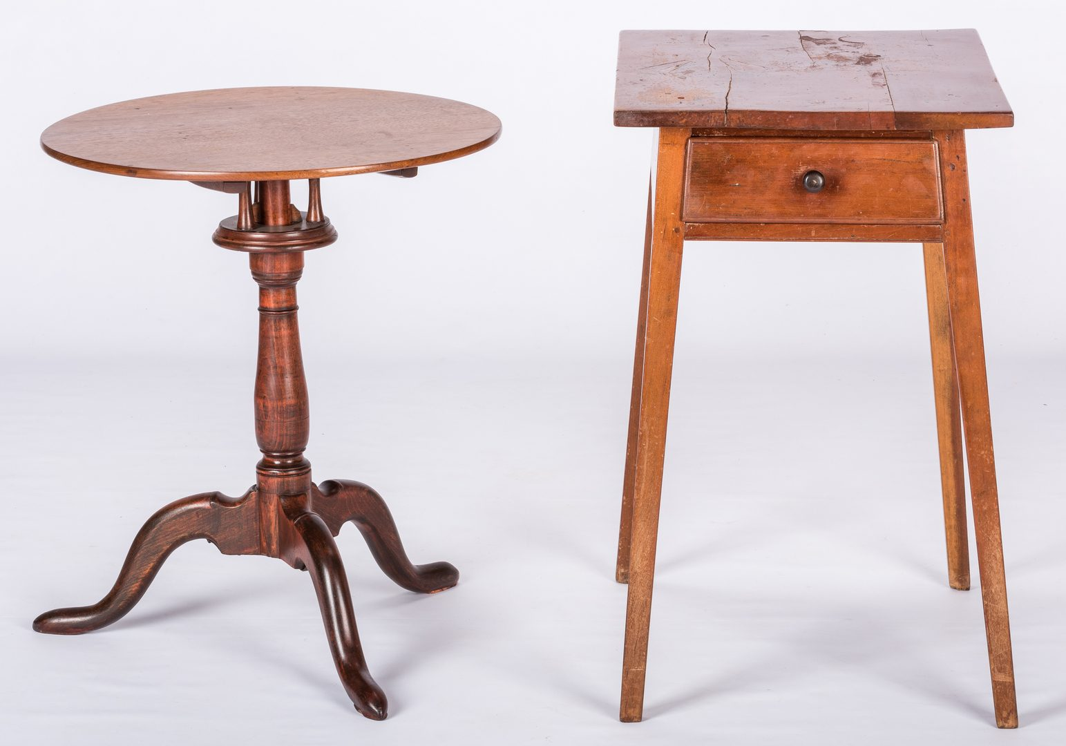 Lot 627: American Work Table and Candlestand
