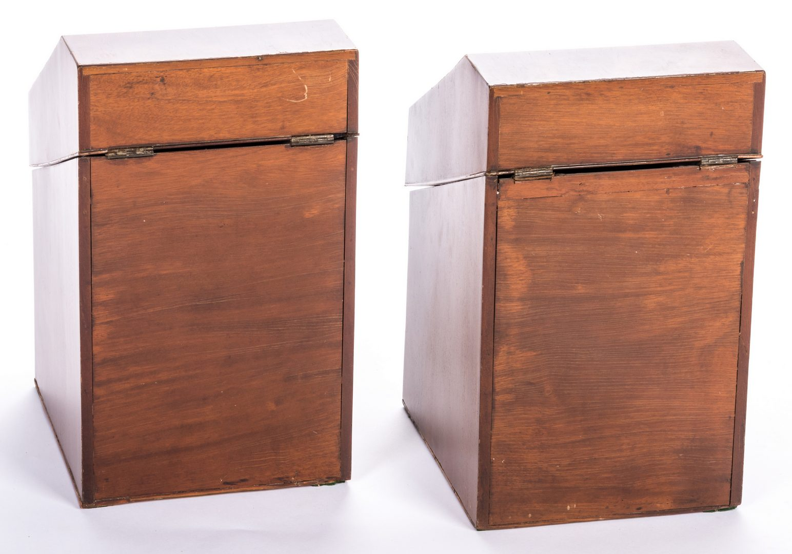 Lot 628: Pr. English Georgian Mahogany Knife Boxes