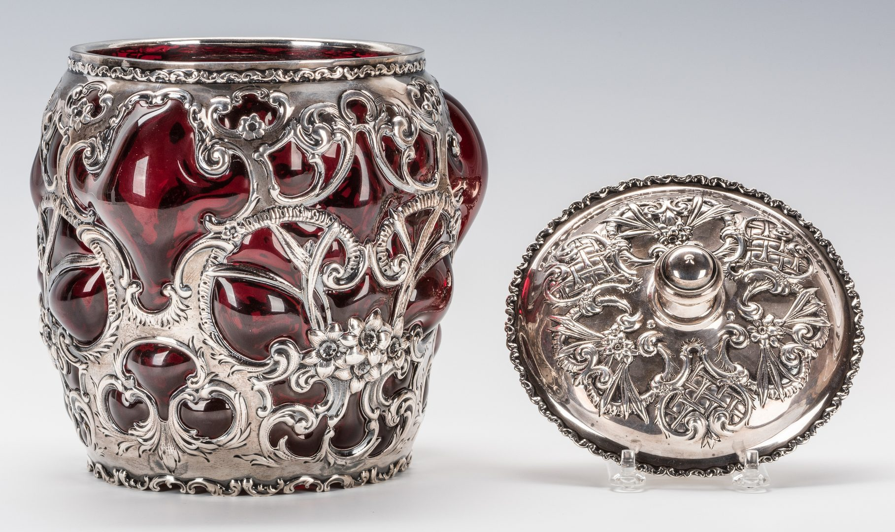 Lot 62: Whiting Sterling Overlay Humidor or Biscuit Jar with Red Art Glass