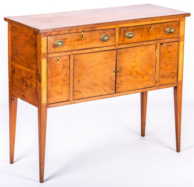 Lot 631: Southern Federal Inlaid Cherry Sideboard