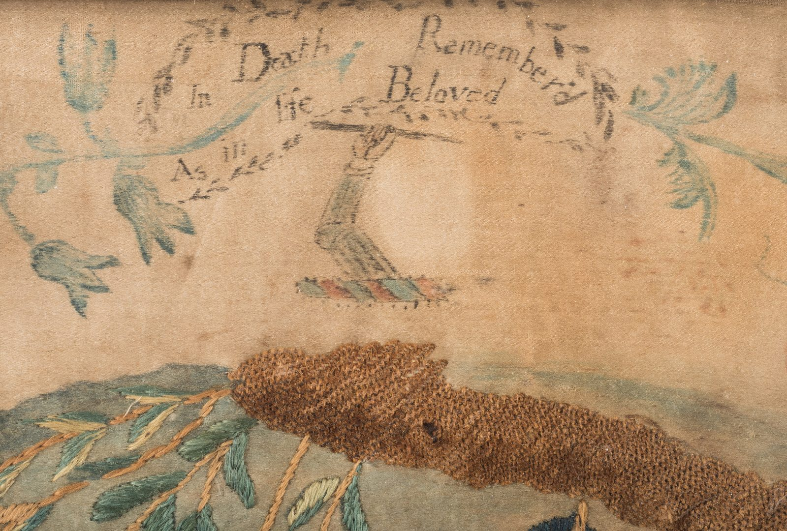 Lot 637: Silk embroidered memorial, Southern