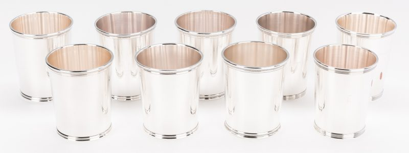 Lot 63: 9 Sterling Julep Cups inc. Scearce JFK