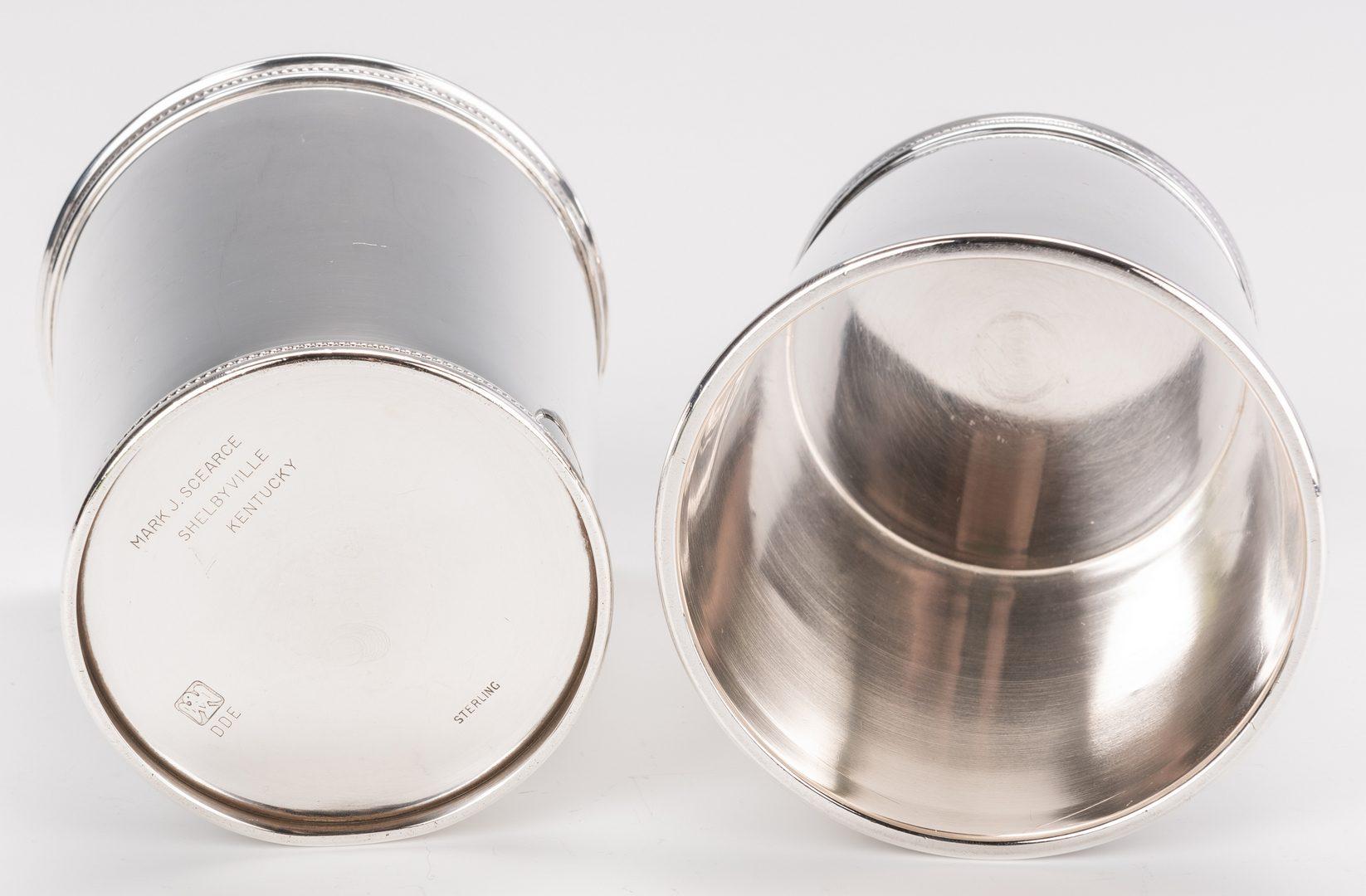 Lot 63: 9 Sterling Julep Cups inc. Scearce JFK