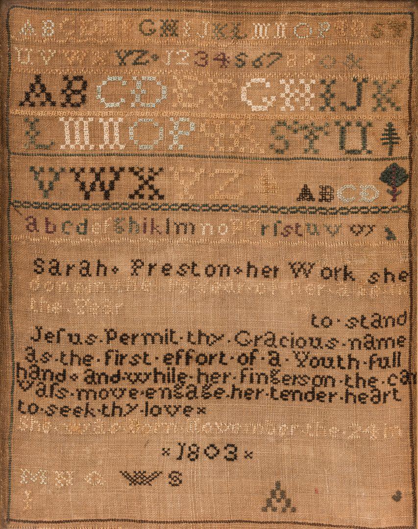 Lot 641: 1817 Sampler, possibly NJ, Sarah Preston