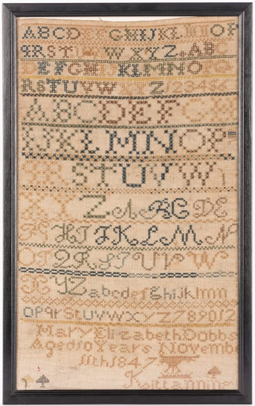 Lot 642: Kittanning, PA 1847 Alphabet Sampler