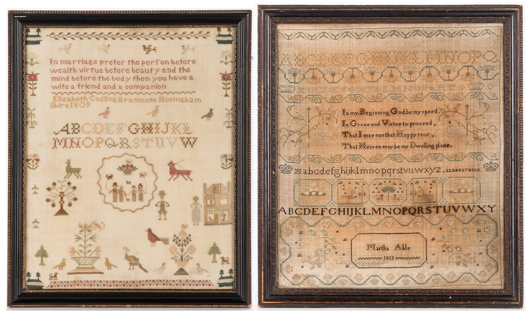 Lot 646: 2 early 19th c. English School Girl Samplers