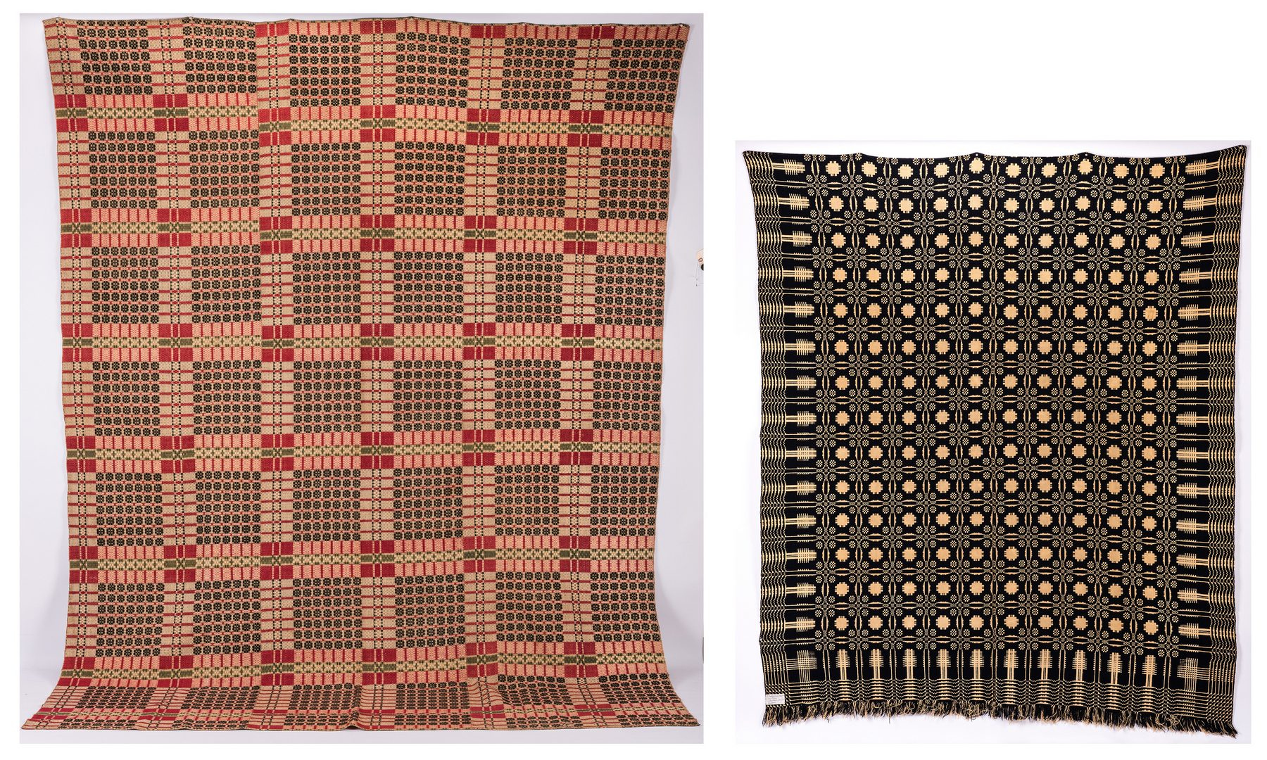 Lot 650: 2 Overshot Coverlets, Pine Tree and 49 Snowballs