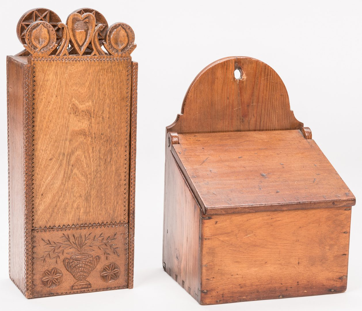 Lot 651: 2 Folk Art Hanging Boxes