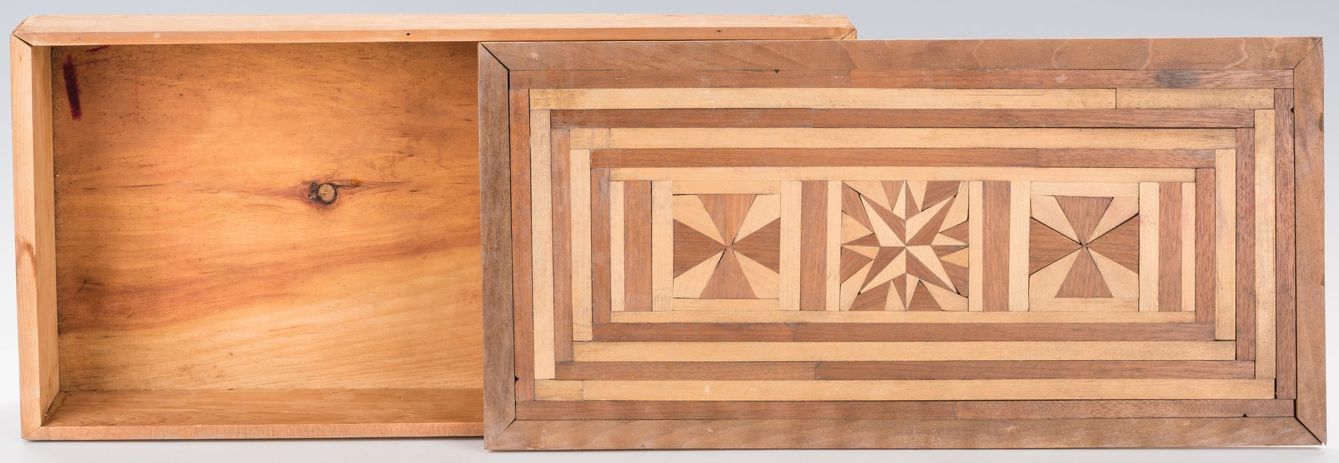Lot 652: Tramp Folk Art Box w/ Crown of Thorns Cover