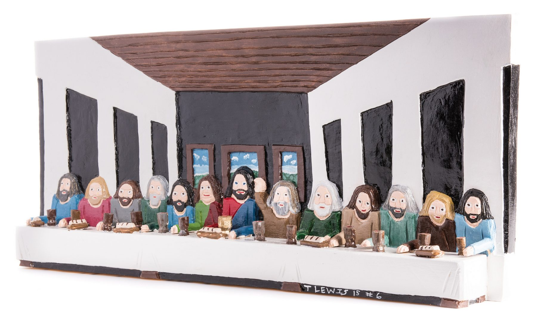 Lot 661: Tim Lewis Relief Carving, Last Supper