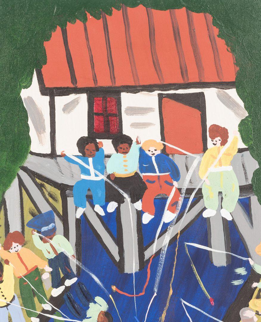 Lot 664: Bernice Sims Outsider Art Painting, Fishing Hole