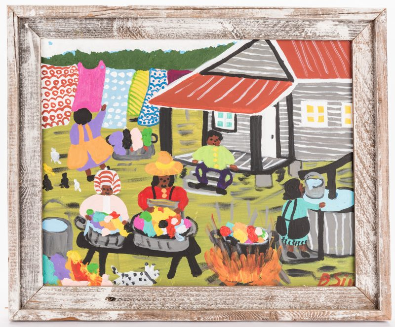 Lot 665: Bernice Sims Outsider Art Painting, Laundry Day