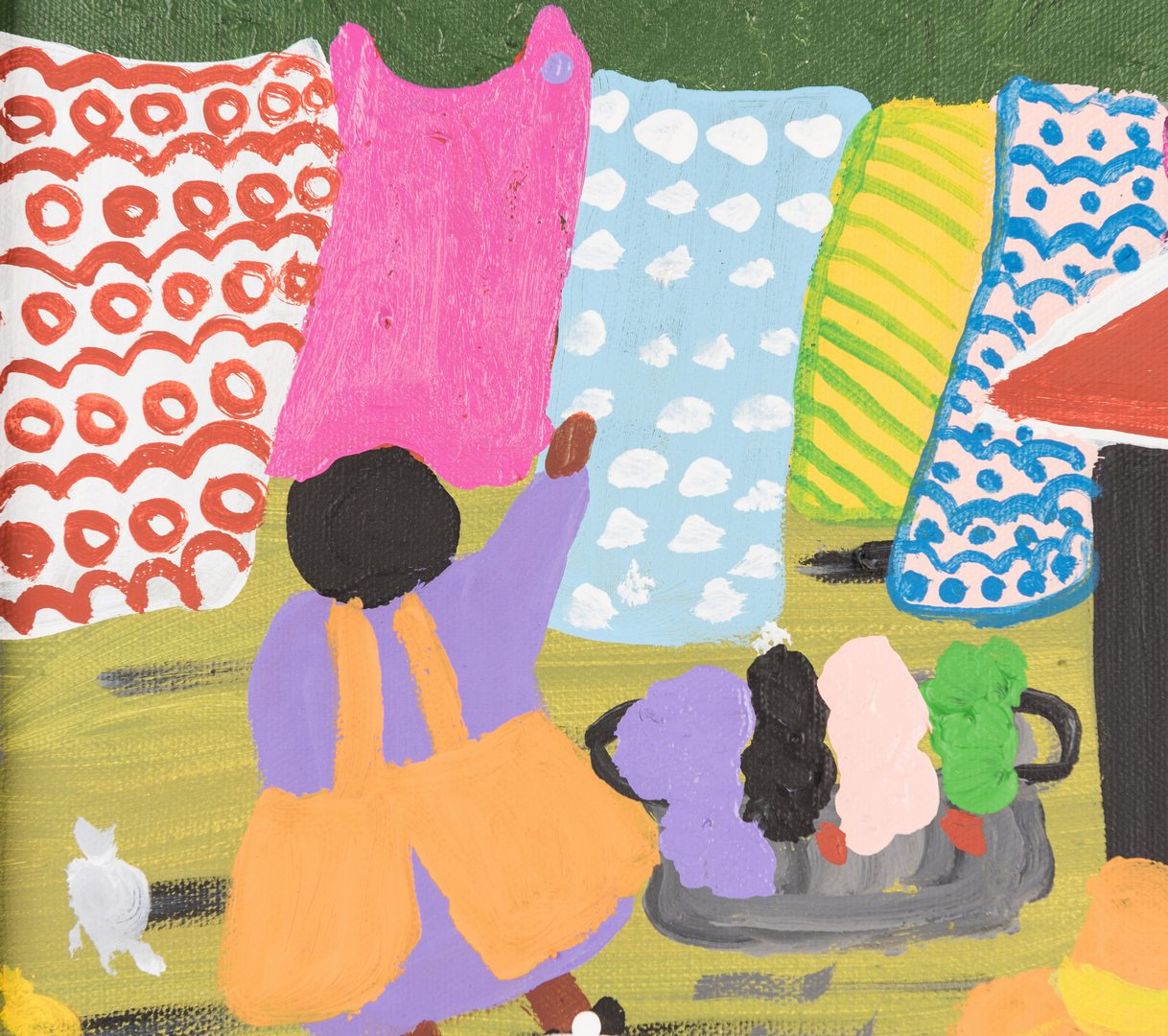 Lot 665: Bernice Sims Outsider Art Painting, Laundry Day
