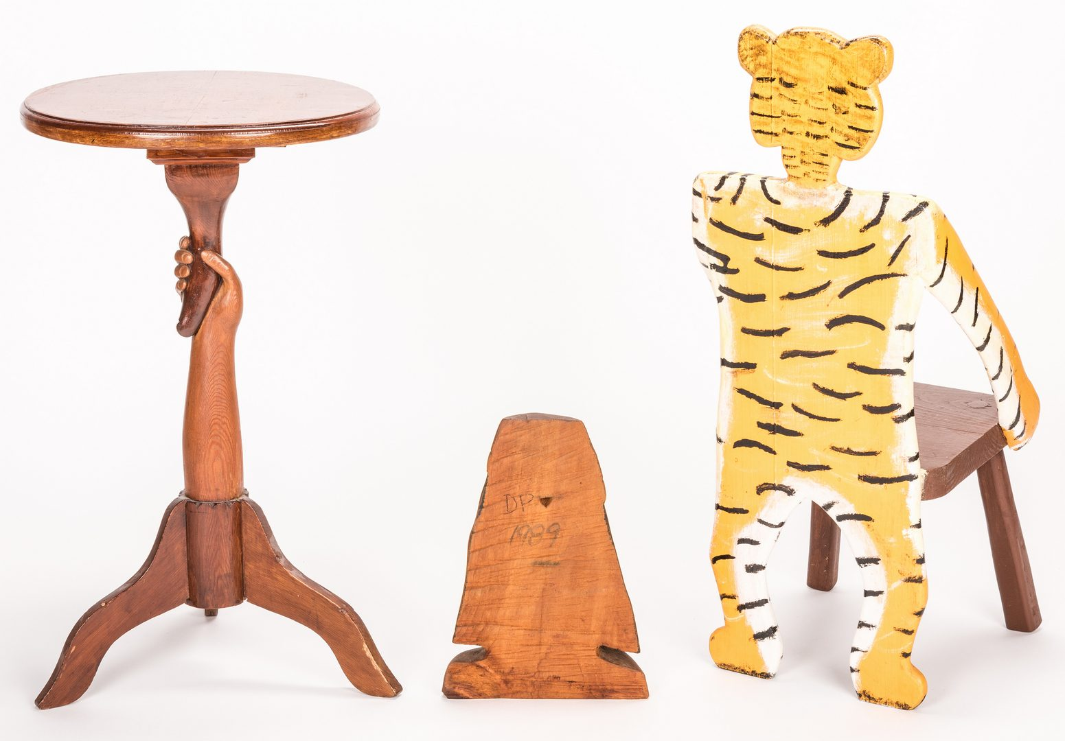 Lot 669: Pugh Tiger Chair & Indian Carving + Folk Art Table, 3 items