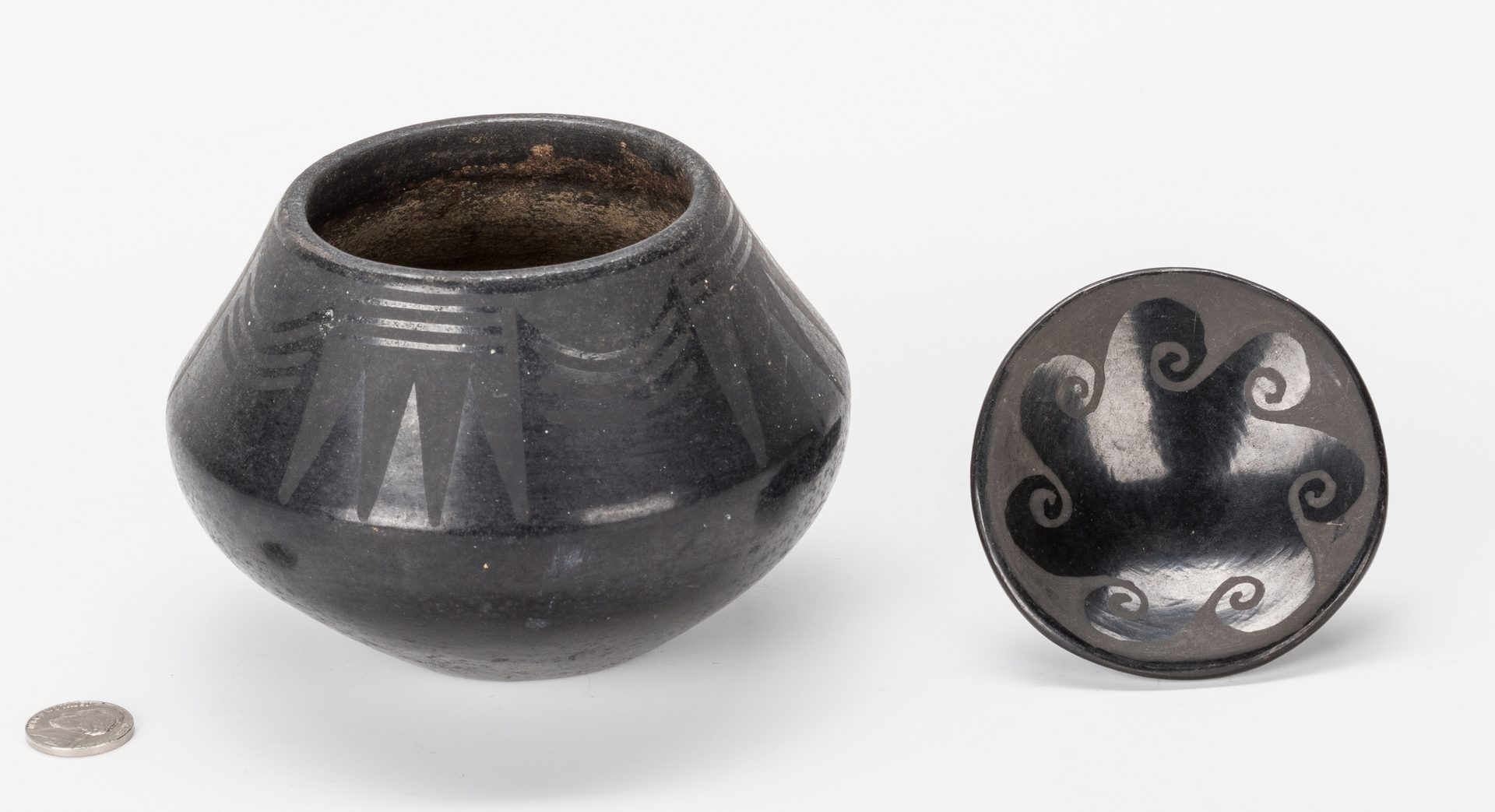 Lot 673: 2 San Ildefonso Blackware Items, incl.  Marie & Julian Martinez