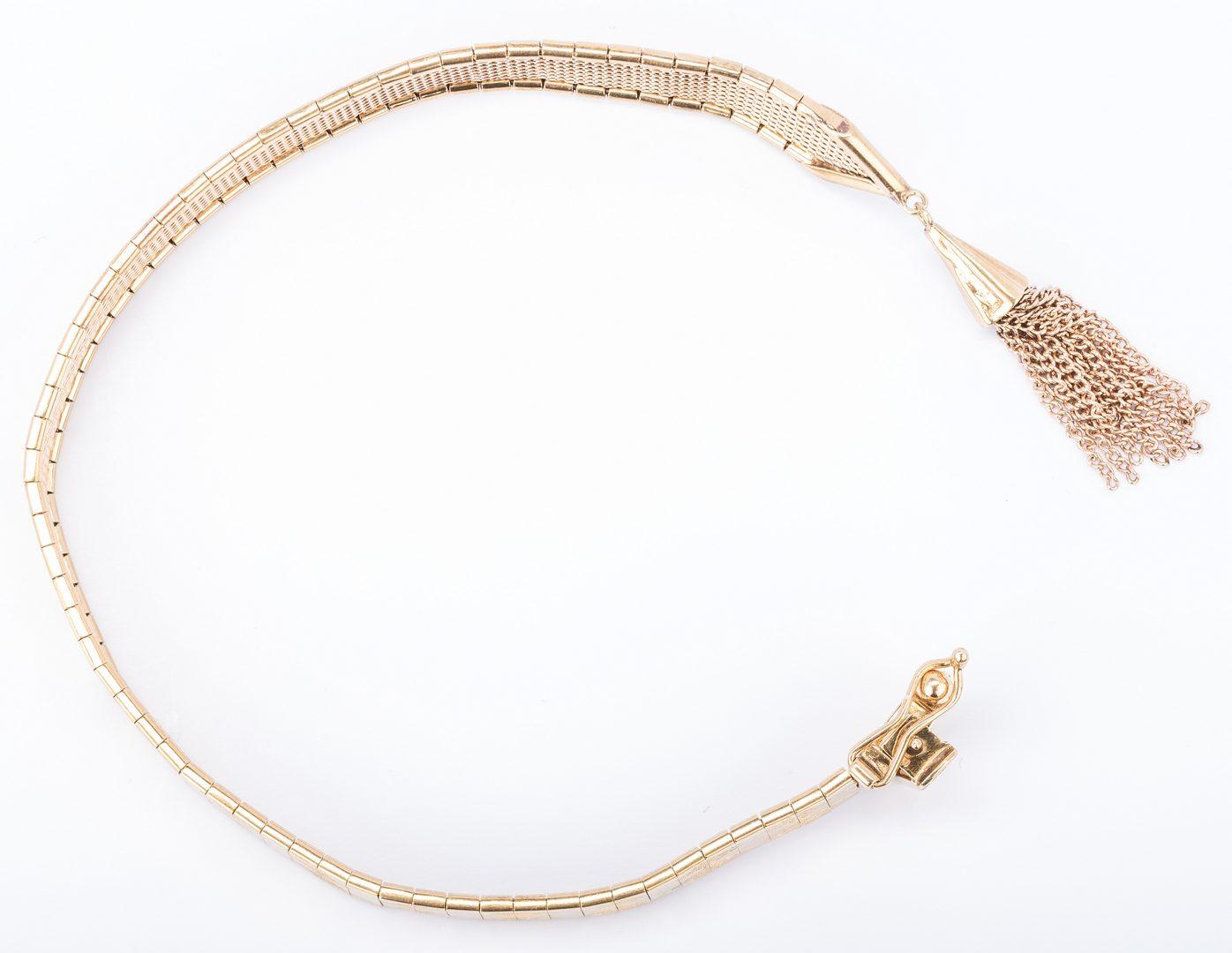 Lot 681: 14K Gold Tassel Bracelet, Harlequin Design