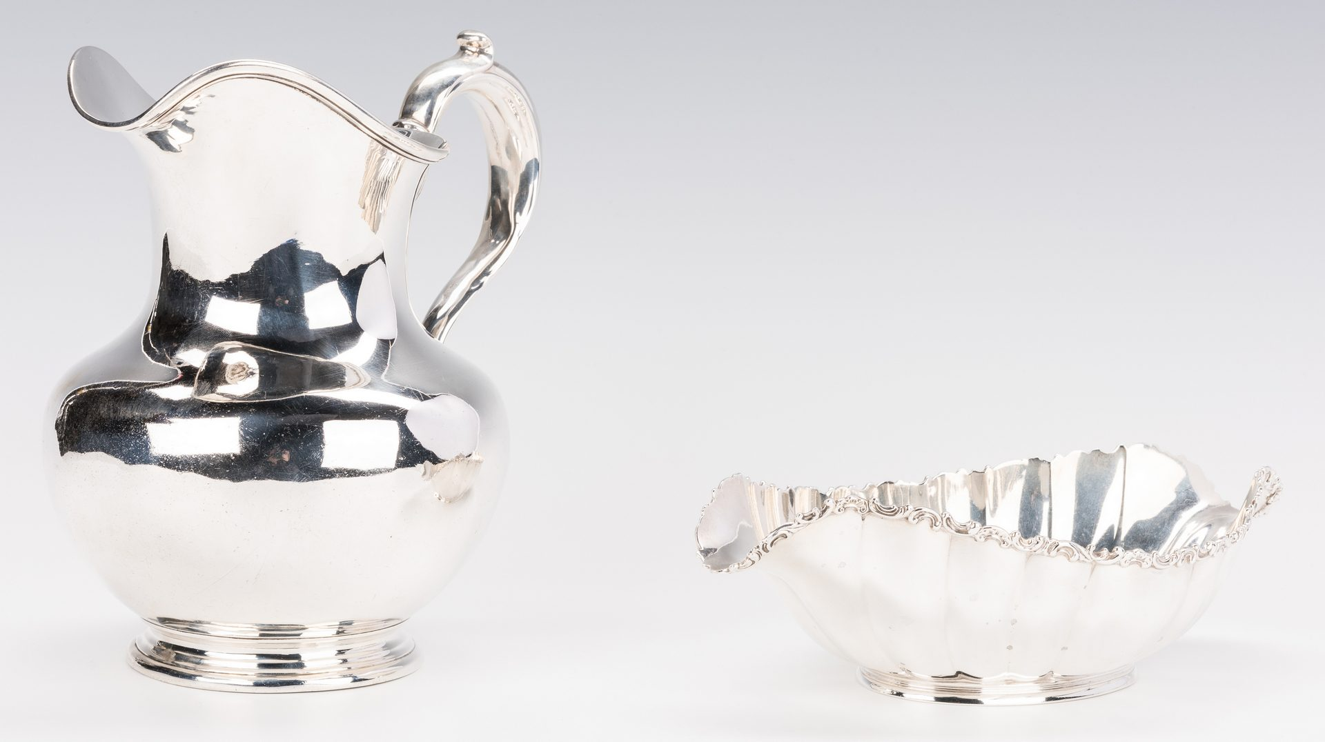 Lot 696: Whiting Sterling Pitcher & Gorham Bowl, 2 items