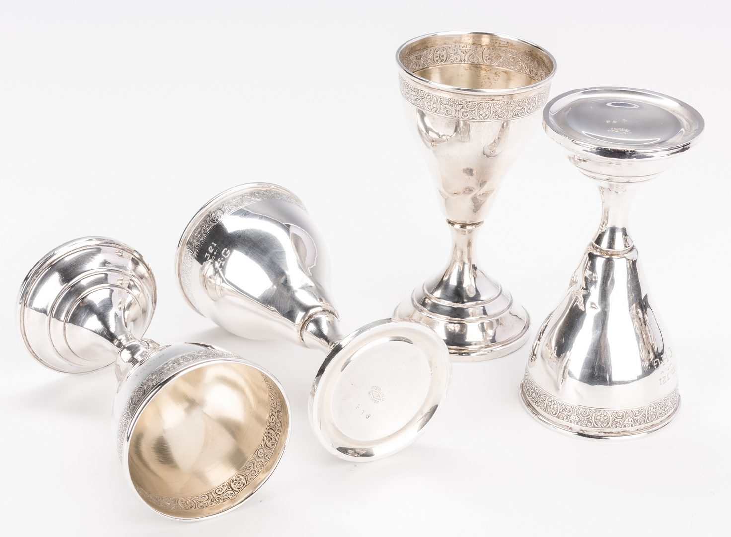 Lot 698: 2 Sterling Stemware Sets, 18 items