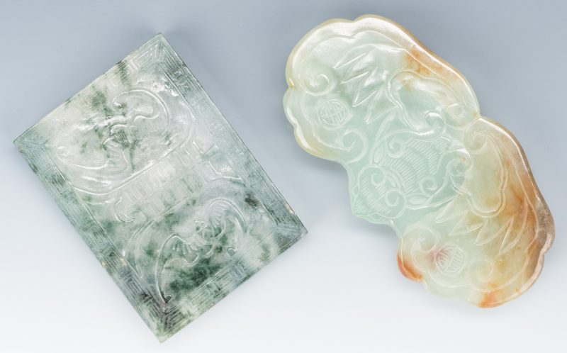 Lot 6: 2 Chinese Carved Jade Belt Buckles w/ Bats
