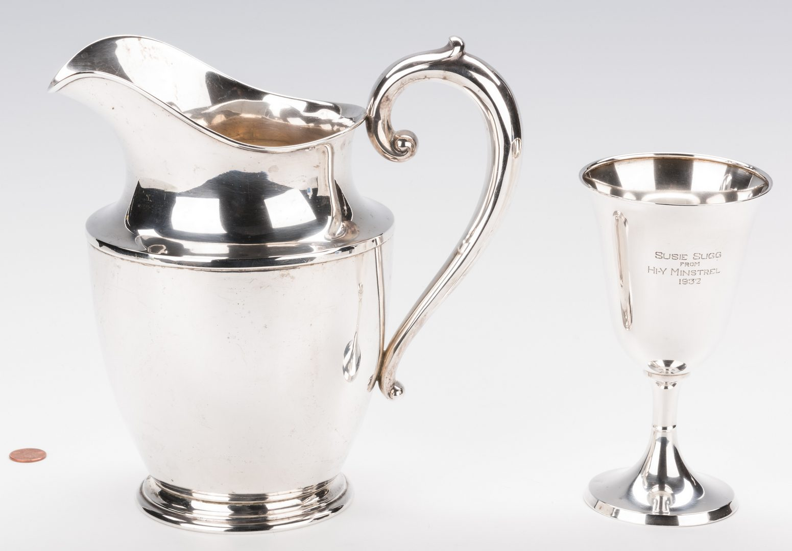 Lot 701: Wallace Sterling Water Pitcher w/ goblet