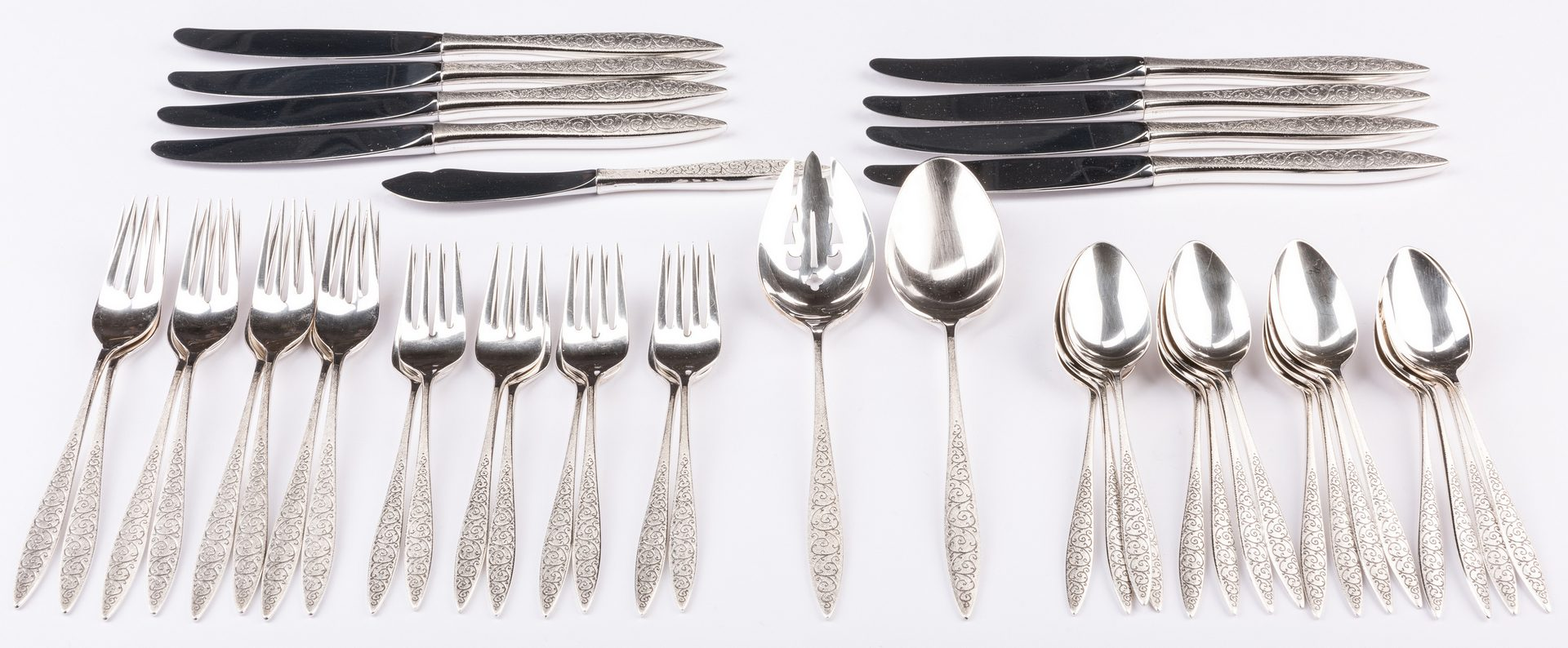 Lot 704: Wallace Sterling Flatware, Spanish Lace pattern, 43 pcs.