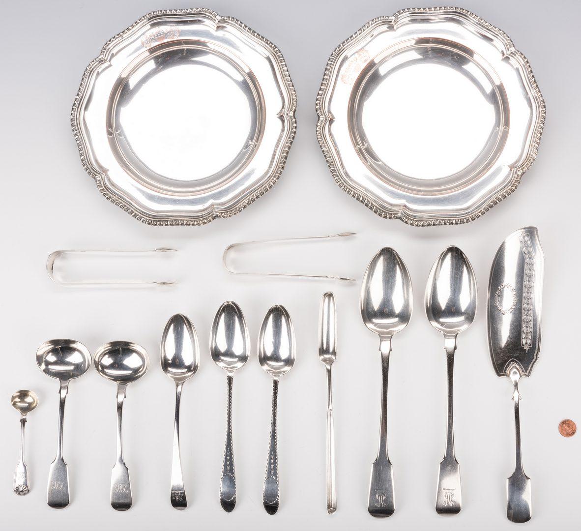 Lot 705: 12 Pcs. Sterling Serving & 2 SP Bowls