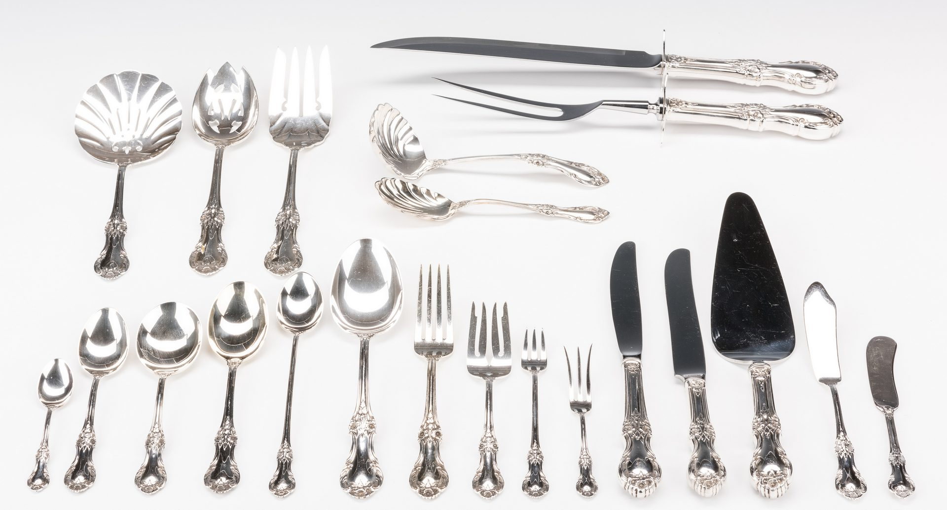 Lot 70: International Wild Rose Sterling Flatware, 122 pcs