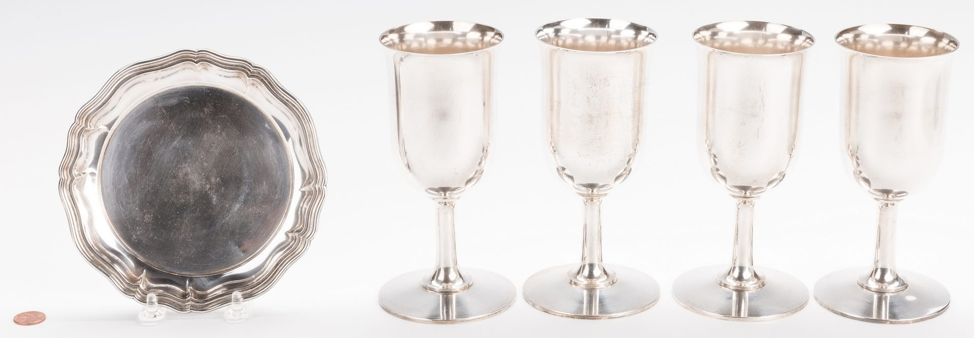 Lot 711: Set 4 German Silver Goblets and Dish