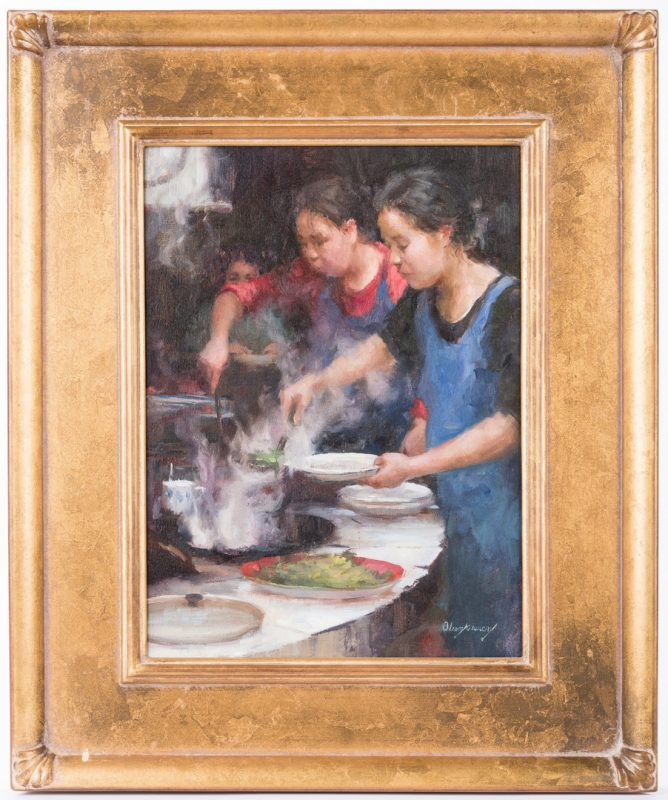 "Lot 717: Marci Oleszkiewicz, O/C, ""Awaiting Dinner"""