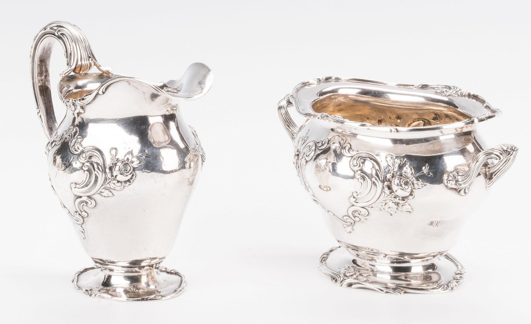 Lot 71: Gorham Chantilly 5 pc Sterling Tea Set