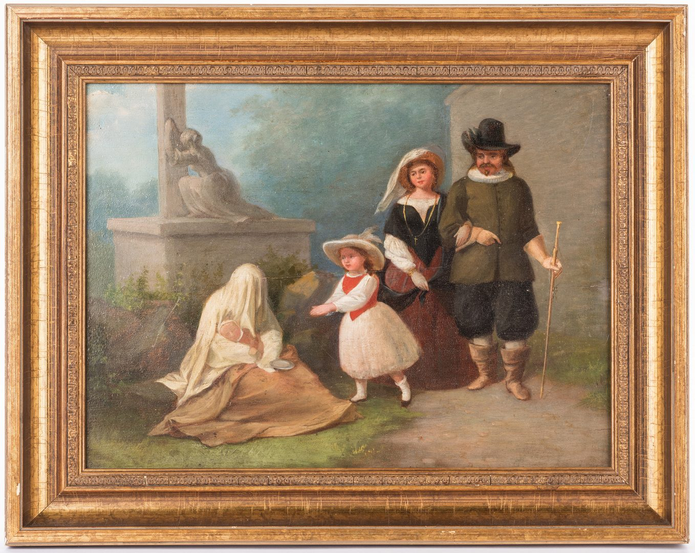 Lot 721: Oil on Board Dutch Family Genre Scene