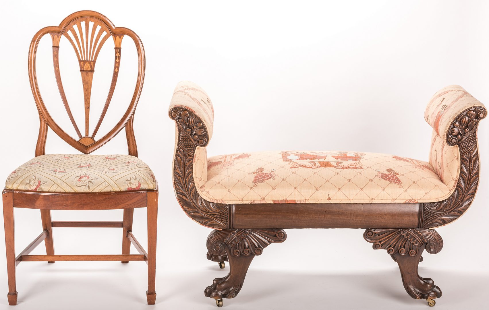 Lot 725: Empire Revival Window Seat & Federal Style Shield Back Chair