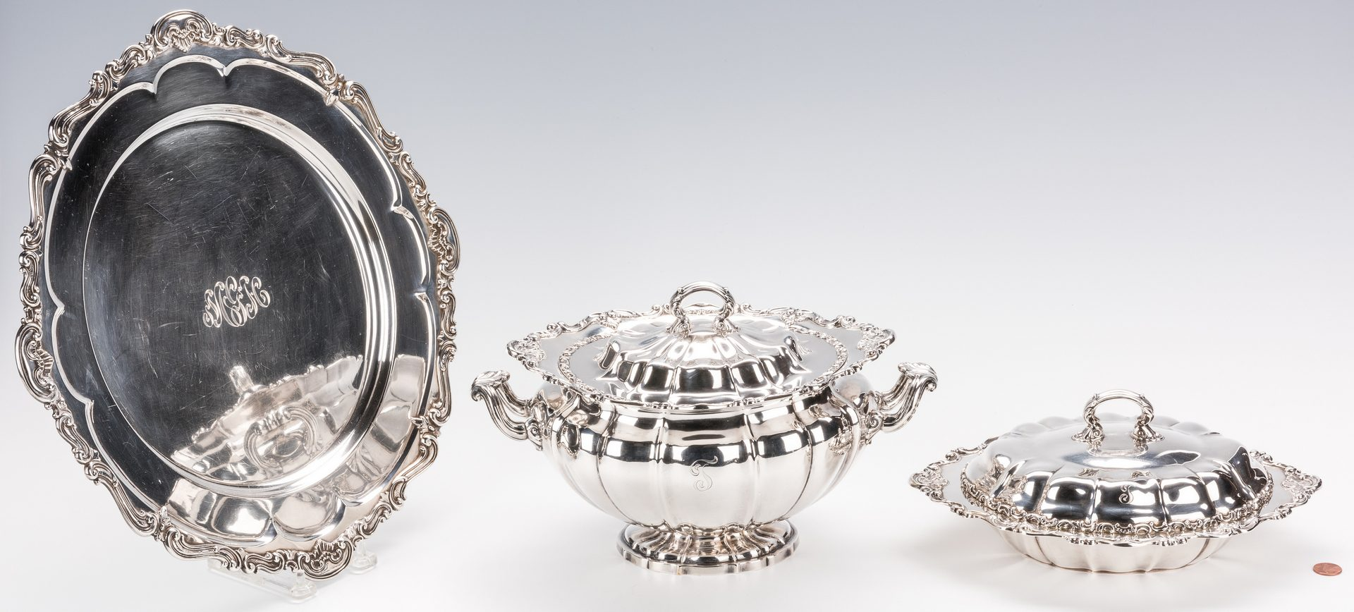 Lot 72: 3 pcs Gorham Sterling Hollowware inc. tray, tureen and covered dish