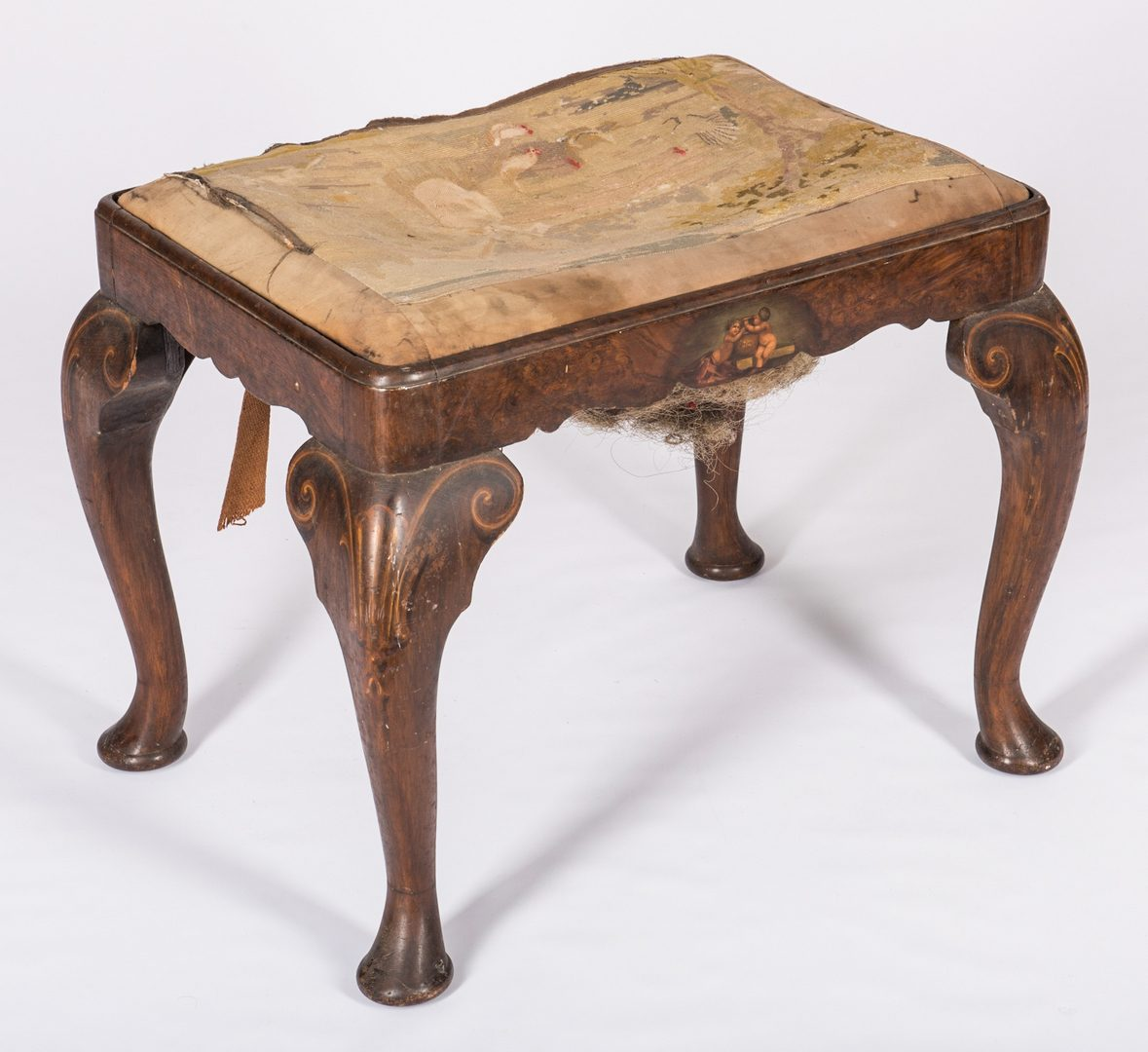 Lot 731: Continental Stool with Tapestry Seat