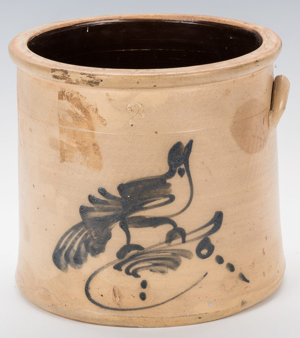 Lot 735: NY Stoneware Churn & Crock with Birds