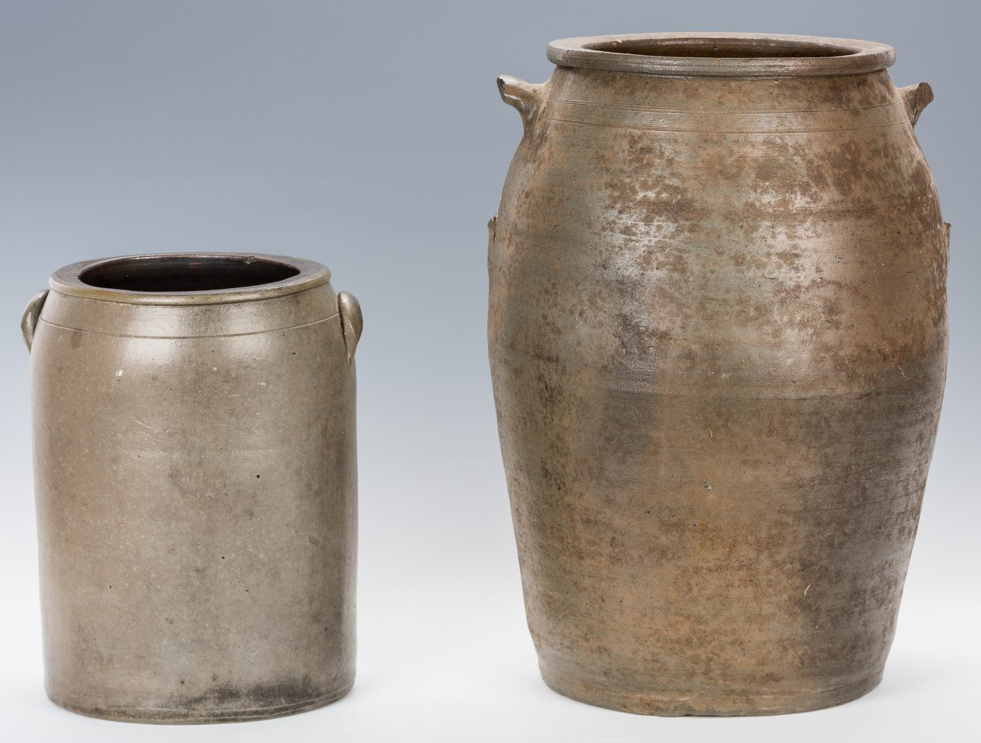 Lot 738: 2 KY Stoneware Pottery Jars, inc. Griggs & Grinstead