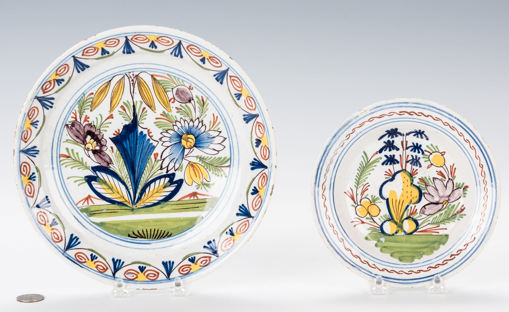 Lot 744: 3 Early Blown Glass Items; 2 Delft Plates