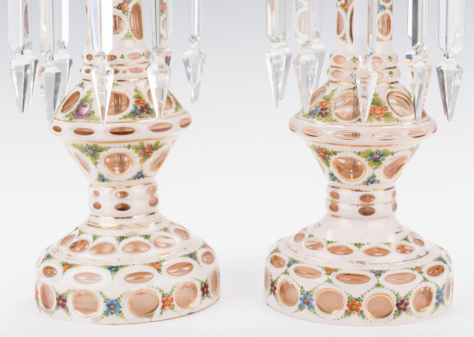 Lot 745: Pr. Victorian Art Glass Mantle Lusters