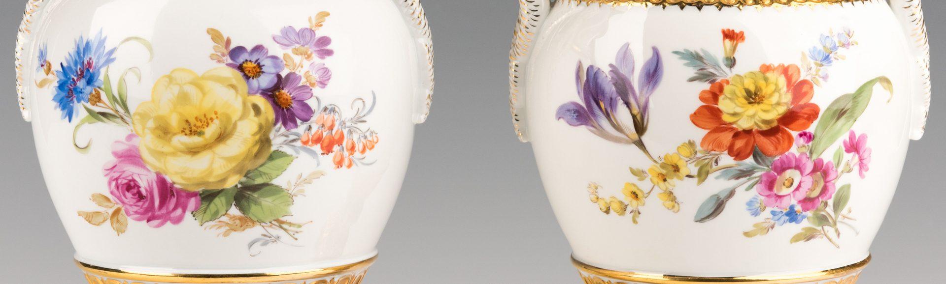 Lot 750: Pr. Meissen Vases w/ Snake Handles
