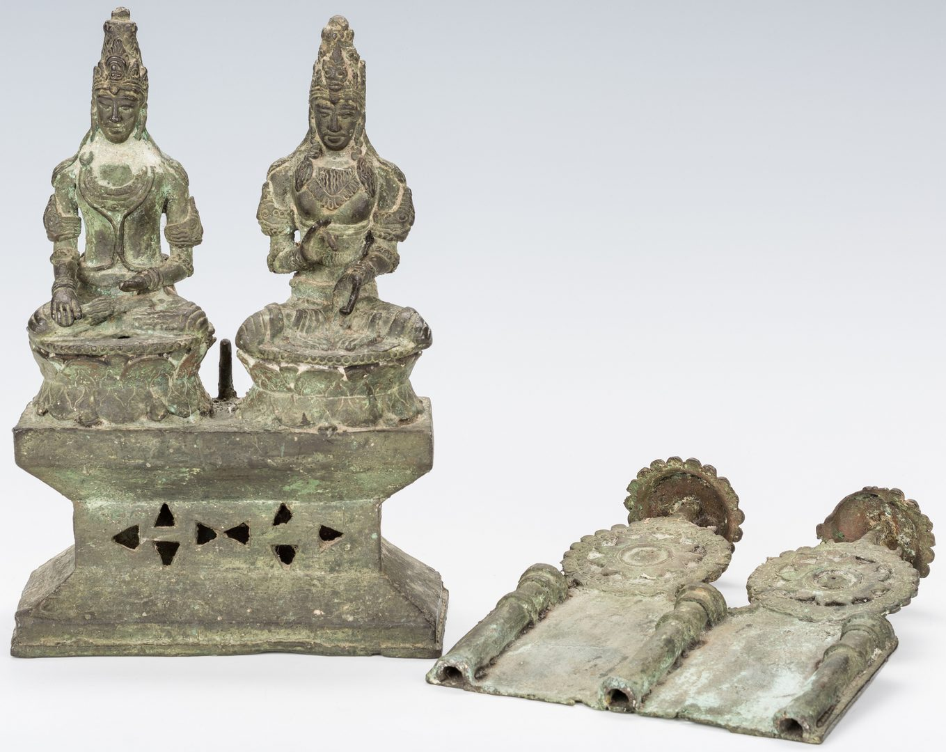Lot 756: Southeast Asian Bronze Candleholder, Archaic Style