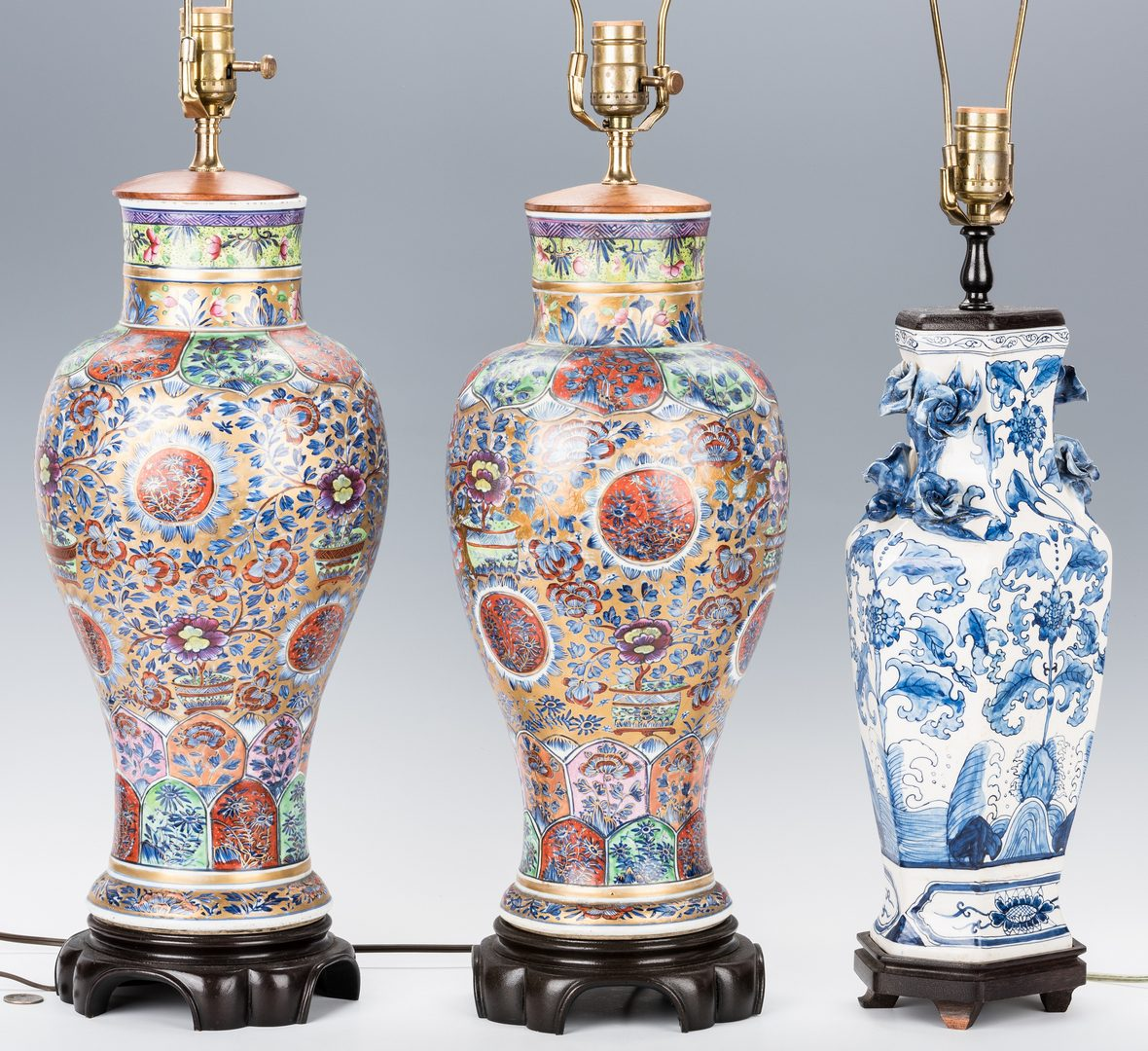 Lot 757: 3 Chinese Porcelain Lamps