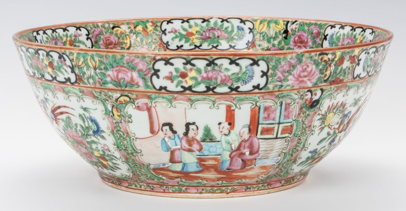 Lot 759: Rose Medallion Porcelain Punch Bowl