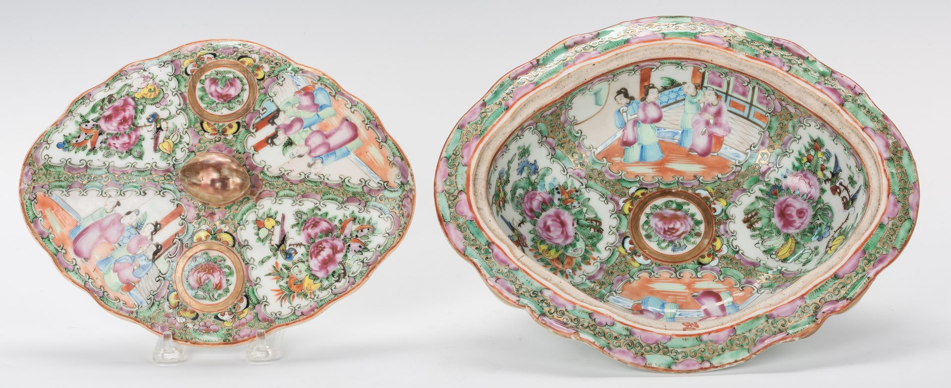 Lot 760: Large Chinese Rose Medallion Platter & Covered Tureen