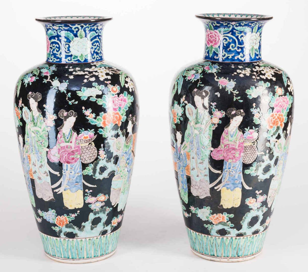 Lot 762: Pr. Chinese Famille Noire Floor Vases